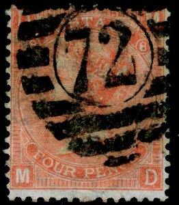 SG94, 4d vermilion plate 8, USED. Cat £90. MD