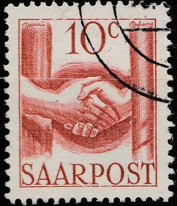 SARRE / SAARLAND - 1948 - Mi.239 10c handshake - Very Fine Used