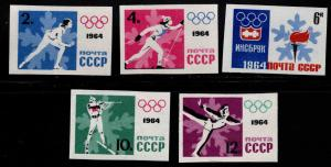 Russia Scott 2843-2847 MNH** Imperforate Winter Olympic games set