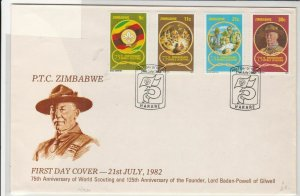 ptc zimbabwe 1982 anniversary of scouting fdc  stamps cover ref 20512