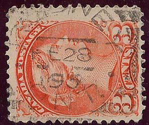 Canada - 3c Small Queen w. RODNEY Squared Circle