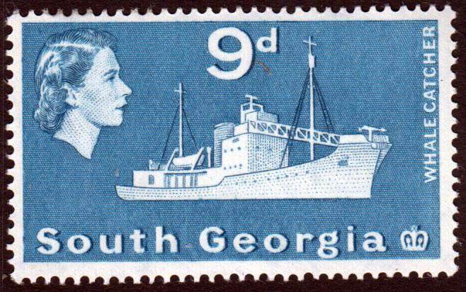South Georgia QEII 1963 9d Blue SG9 Mint Lightly Hinged