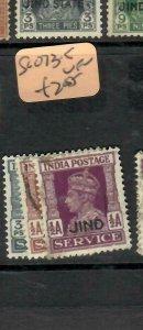 INDIA CONVENTION STATE JIND (PP0906B)  KGVI  SERVICE 3P-1/2A  SG O73-5   VFU