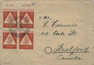 Germany Soviet Zone 12pf+3pf Stamp Day Semi-Postal Block of Four 1948 (10b) P...