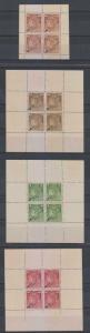 COSTA RICA REVENUES 1891 Mena SR27-SR42 FULL SET 4 COMPOSITE SHEETS SPECIMEN