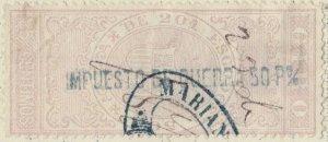 ESPAGNE / SPAIN / ESPAÑA 1875 Fiscal (GIRO) 25 cent. sobrecarga IMPto de GUERRA