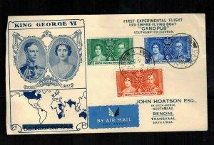 1937 Dar es Salaam Tanganyika KUT FFC First Flight Cover South Africa Coronation