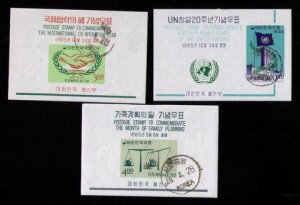 Korea Sc 485a-486a Cancelled 3 Each Imperf Souvenir Sheets Used W/471a (1965) VF