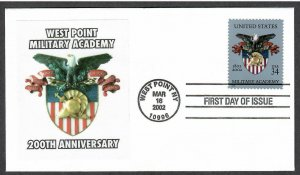 US # 3560 West Point Anniversary - Lakestamps Silk Cachet FDC - I Combine S/H