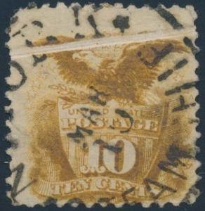 #116 VAR. USED EAGLE & SHIELD 10¢ WITH WIDE PRE-PRINT PAPER FOLD ERROR BP4094