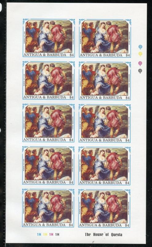 ANTIGUA PETER-PAUL RUBENS  SCOTT #1370/77   IMPERFORATE SHEET SET  MINT NH