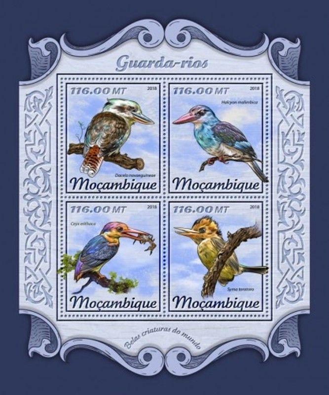 Mozambique - 2018 Kingfishers on Stamps - 4 Stamp Sheet - MOZ18125a
