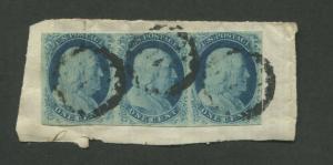 1851 United States Postage Stamp #7 Used Strip of 3 Grid Postal Cancel