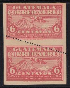 Guatemala 1930 6c Rose Red Imperf Pair with Diagonal Perf LM Mint. Scott C7b