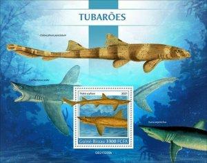 Guinea-Bissau - 2021 Sharks, Banded Houndshark - Stamp Souvenir Sheet GB210209b