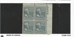 US SCOTT# 820 PLATE BLOCK OF 4, MNH, OG
