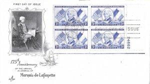 #1010, 3c Lafayette, Art Craft, plate block of 4