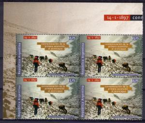 Argentina 1998 Sc # 1986 Aconcagua Mountaineering Block of 4 MNH