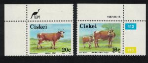 Ciskei Nkone Cattle 2v Top Corners SG#111=114