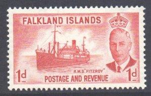 Falkland Is Scott 108 - SG173, 1952 George VI 1d MH*