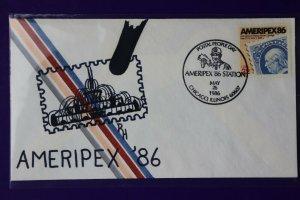 US sc#2145 AMERIPEX 86 1986 Philatelic expo hand drawn Cachet RH art signed Hule