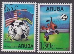 Aruba # 107-108, World Cup Soccer, NH, 1/2 Cat