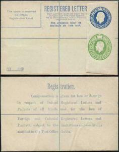 RP33 KGV 3 1/2d and 1/2d Compound Registered Envelope Size F Flap 7