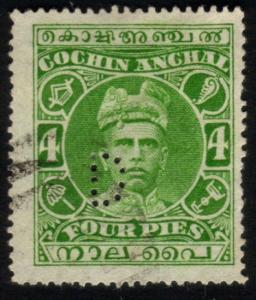 INDIA COCHIN 1911-13 4p carmine D PERFIN used - ...........................46649