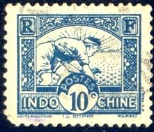 Planting Rice, Indo-China stamp SC#158 used