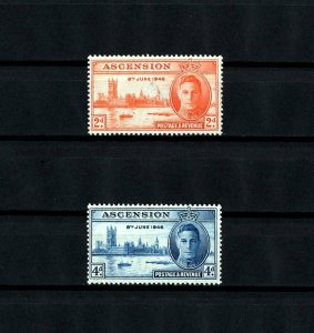 ASCENSION - 1946 - KG VI - PEACE ISSUE - WW II - MINT MNH SET OF 2!