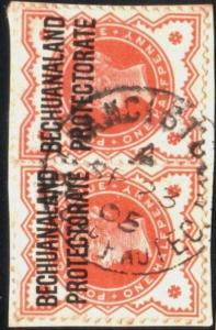 BECHUANALAND 1905 QV ½d pair on piece FRANCISTOWN cds......................51646
