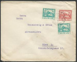 CZECHOSLOVAKIA 1921 imperfs on cover Troppau to Vienna.....................61548