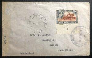 1945 Lunga British Solomon Island RNZAF Censored Cover To Auckland New Zealand