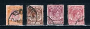 Singapore  4a;9;9a;14a Used King George (S0226)