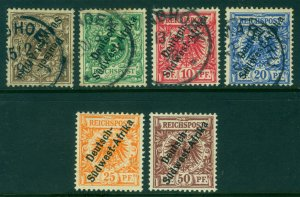 German Colonies - SOUTH WEST AFRICA 1897 SURCH. complete set Sc# 1-6 used/unused