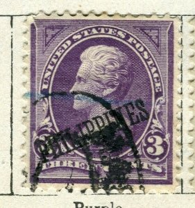 PHILIPPINES; 1899 early Presidential Optd. series issue used 3c. value
