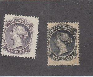 NOVA SCOTIA (MK4988) # 8-9  F-MNH/1LH  1-2cts  QUEEN VICTORIA/BLK & LILAC CV $16