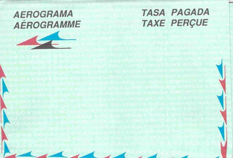 Venezuela Unused Aerogramme Aerogram 1991 Taxe Percue