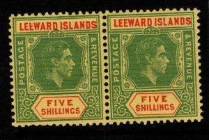 LEEWARD ISLANDS SG112ba 1943 5/= GREEN & RED/YELLOW ORD PAPER BROKEN E MNH