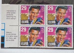 US 1993 Elvis Presley #2721 Block of 4 with Elvis offer in selvage