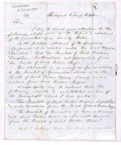 GB WALES Cover Bridgend EL Ref *YNYSAWDRE* & *ST BRIDES* 1844 Letter FF108