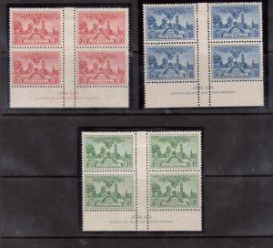 Australia #159 - #161 VF Mint John Ash Gutter Blocks