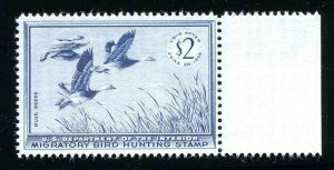 #RW22 Blue Geese 1955 US Federal Duck Stamp MNH With Margin Attached