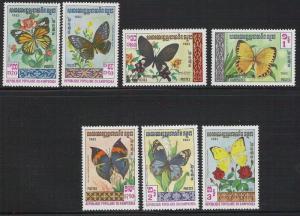 Cambodia- Scott 386- 392 Butterflies set- MNH 1983