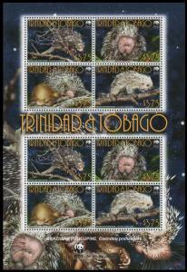 Trinidad and Tobago WWF Brazilian Porcupine Sheetlet of 2 sets MI#955-958