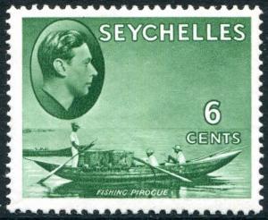 SEYCHELLES-1938-49 6c Green Sg 137c MOUNTED MINT V24989