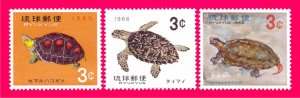 Ryukyu 1965 1966 Nature Fauna Animals Reptiles Amphibians Turtles 3v Sc136-138