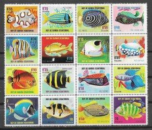 Equatorial Guinea Mint Block Of 16 Exotic Fish Disturbed Gum
