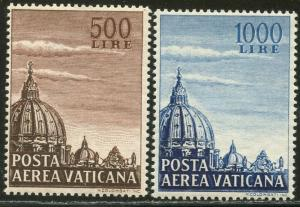 VATICAN Sc#C22-C23 1953 Dome of St. Peter's Airmails Complete Set OG Mint NH