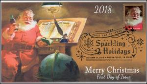 18-276, 2018, Sparkling Holidays, Pictorial,, First Day Cover, Christmas, Santa